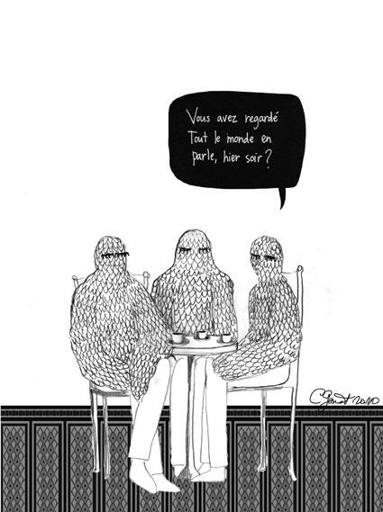 Trois oiseaux discutent en buvant un café.