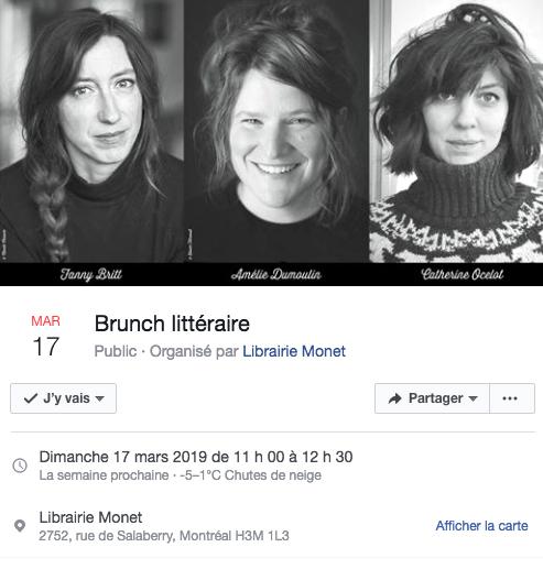 Catherine Ocelot Fanny Britt Amélie Dumoulin
